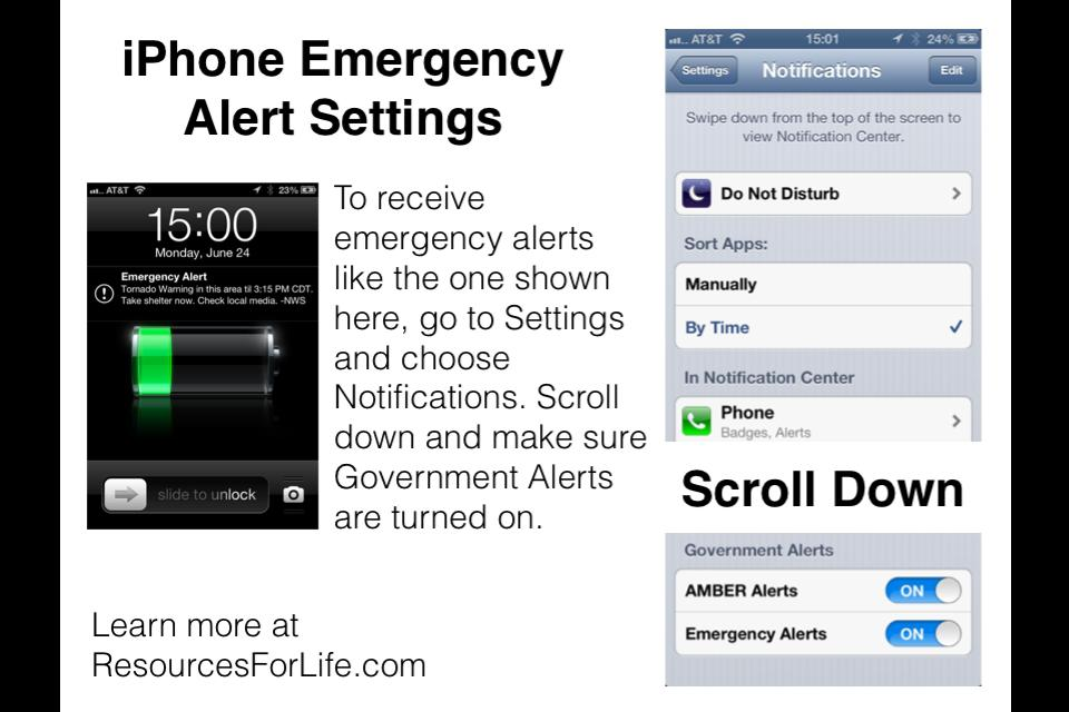 emergency alerts iphone configuring iphone notification settings to receive 3459